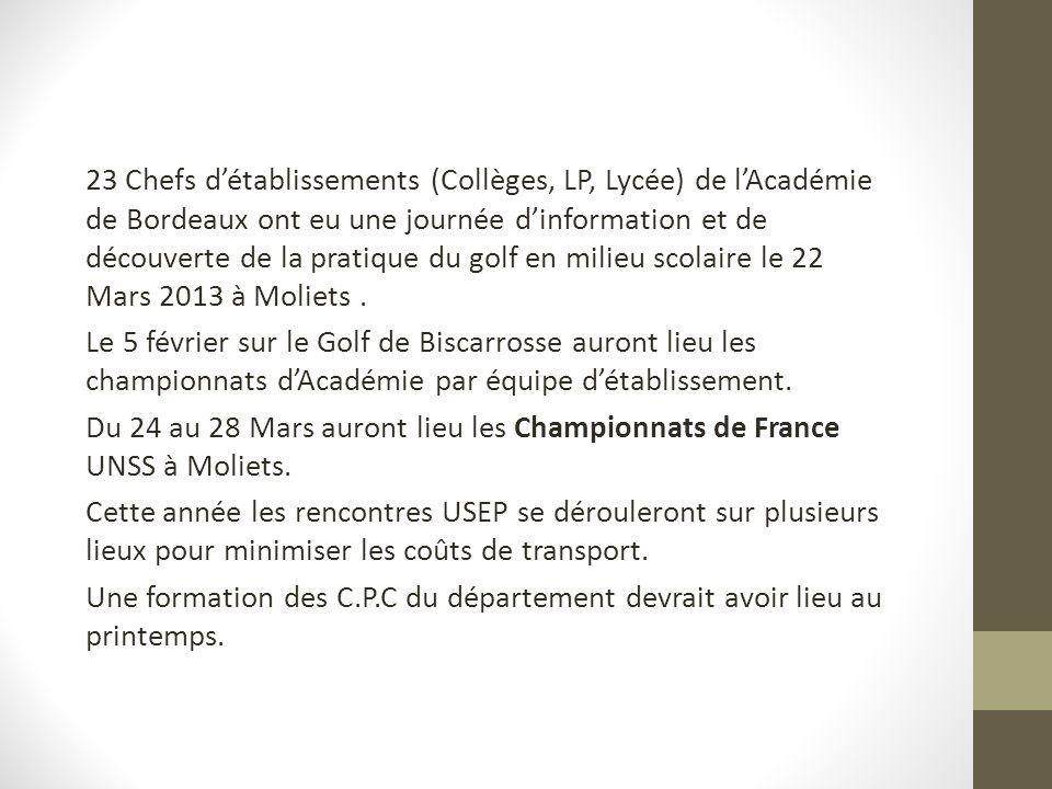23 Chefs d'établissements (Collèges, LP, Lycée) de l'Académie de Bordeaux ont eu une journée d'information et de découverte de la pratique du golf en milieu scolaire le 22 Mars 2013 à Moliets .