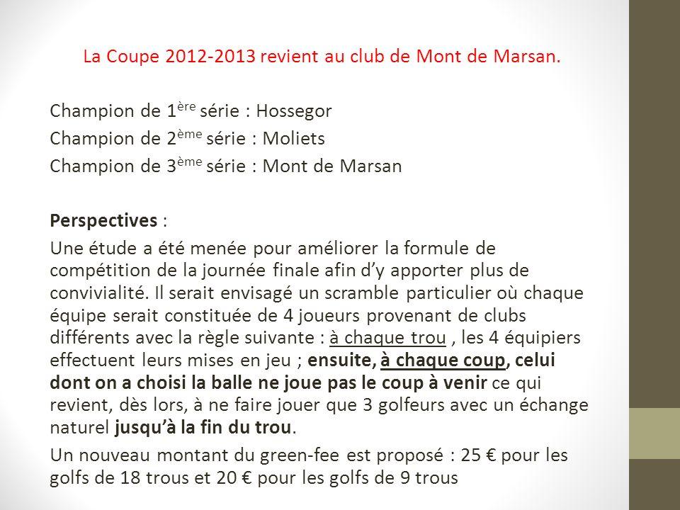 La Coupe 2012-2013 revient au club de Mont de Marsan.