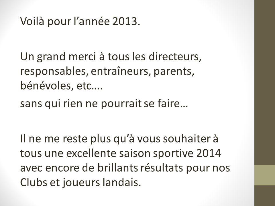 Voilà pour l'année 2013. Un grand merci à tous les directeurs, responsables, entraîneurs, parents, bénévoles, etc….