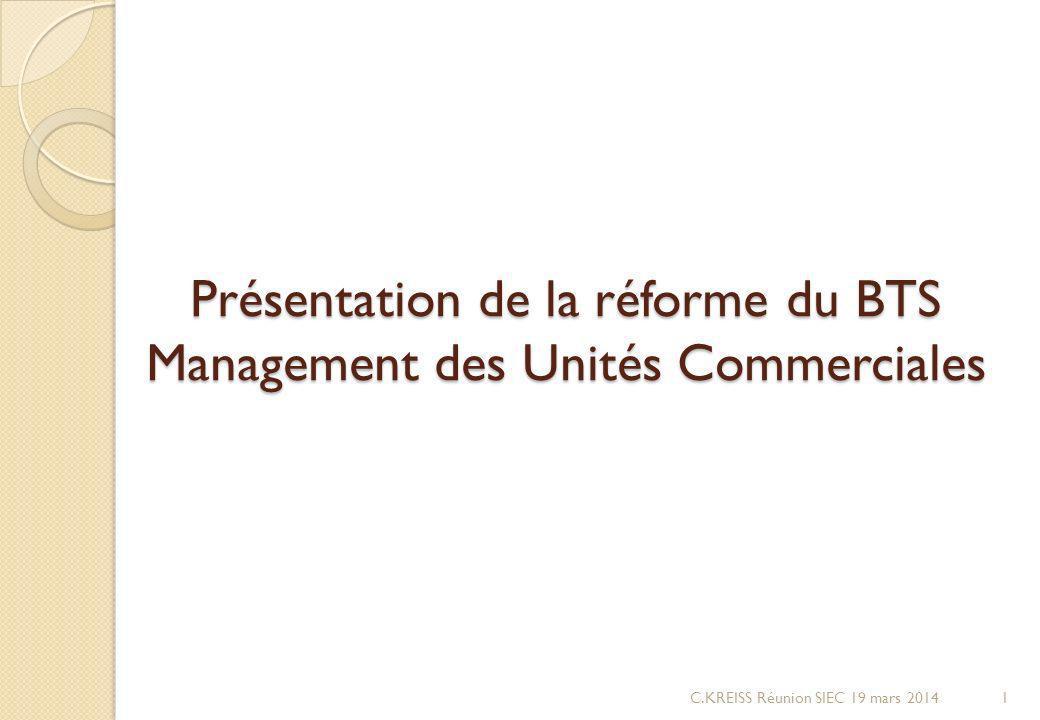 Présentation de la réforme du BTS Management des Unités Commerciales