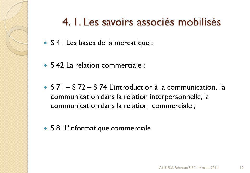 4. 1. Les savoirs associés mobilisés
