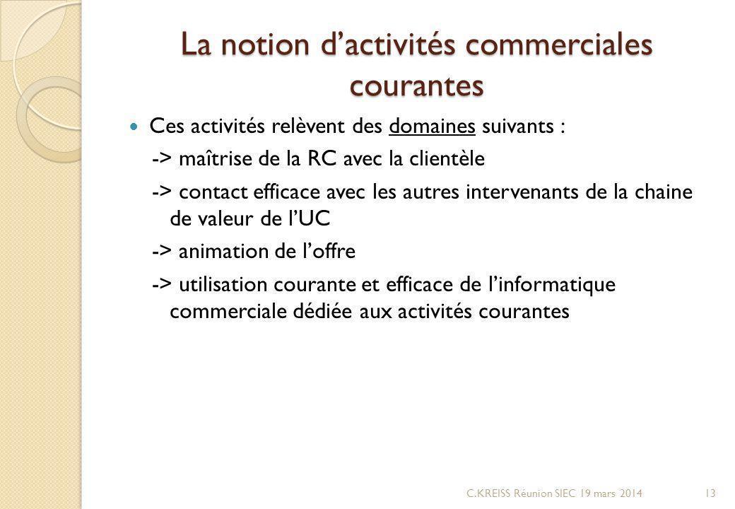La notion d'activités commerciales courantes
