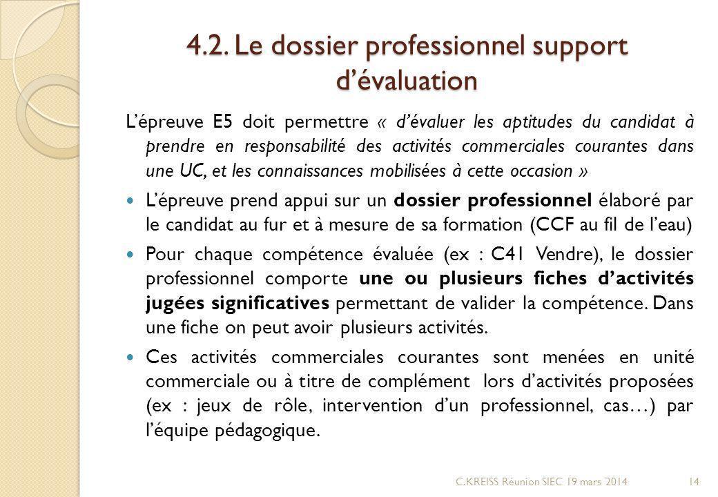 4.2. Le dossier professionnel support d'évaluation