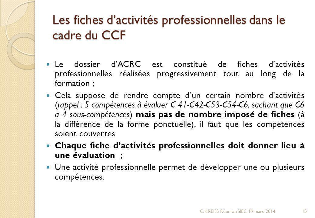 Les fiches d'activités professionnelles dans le cadre du CCF