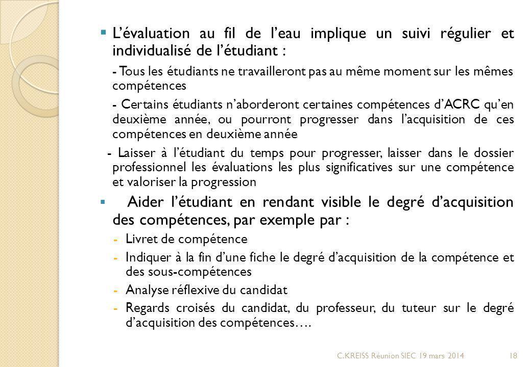 L'évaluation au fil de l'eau implique un suivi régulier et individualisé de l'étudiant :