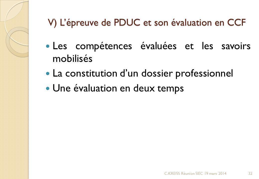 V) L'épreuve de PDUC et son évaluation en CCF