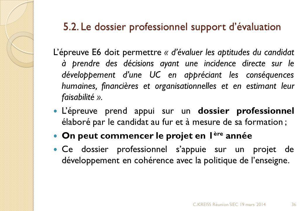 5.2. Le dossier professionnel support d'évaluation