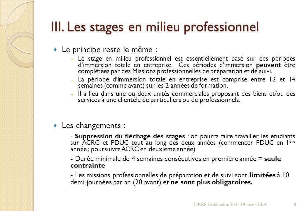 III. Les stages en milieu professionnel