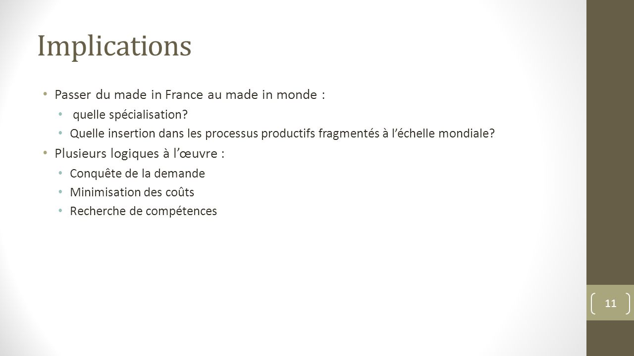 Implications Passer du made in France au made in monde :