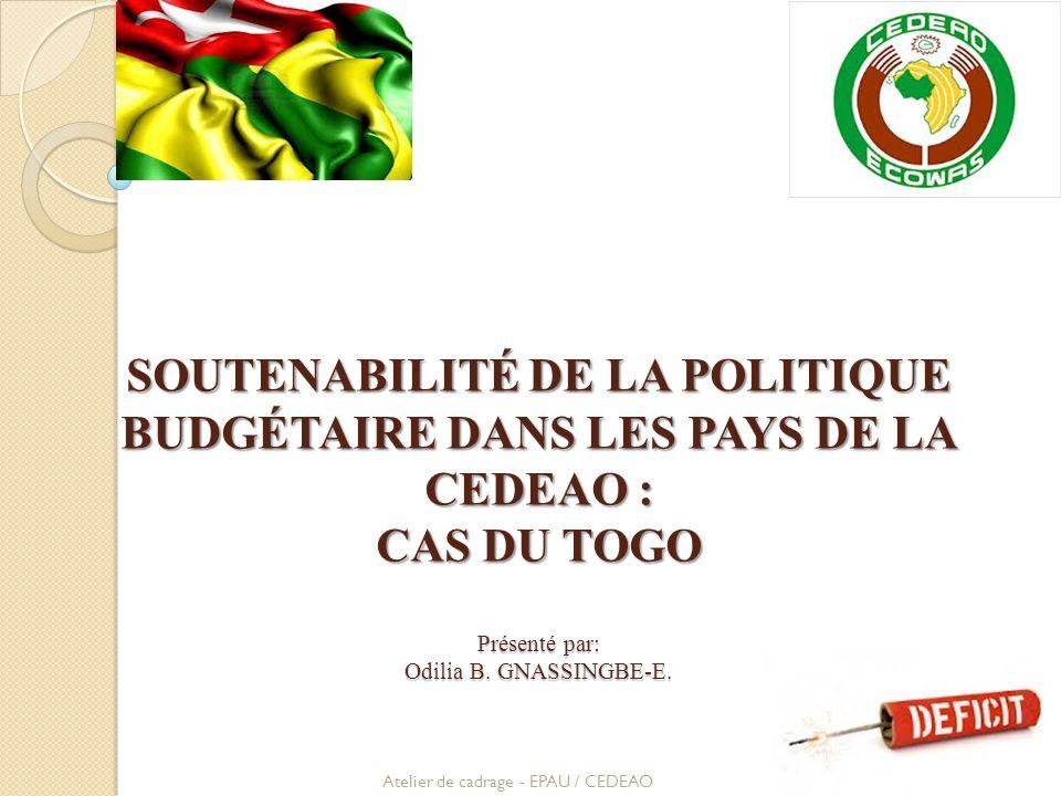 SOUTENABILITÉ DE LA POLITIQUE BUDGÉTAIRE DANS LES PAYS DE LA CEDEAO : CAS DU TOGO Présenté par: Odilia B. GNASSINGBE-E.