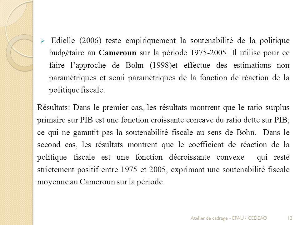 Edielle (2006) teste empiriquement la soutenabilité de la politique budgétaire au Cameroun sur la période 1975-2005. Il utilise pour ce faire l'approche de Bohn (1998)et effectue des estimations non paramétriques et semi paramétriques de la fonction de réaction de la politique fiscale.