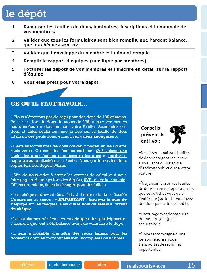 le dépôt CE QU'IL FAUT SAVOIR… Conseils préventifs anti-vol: