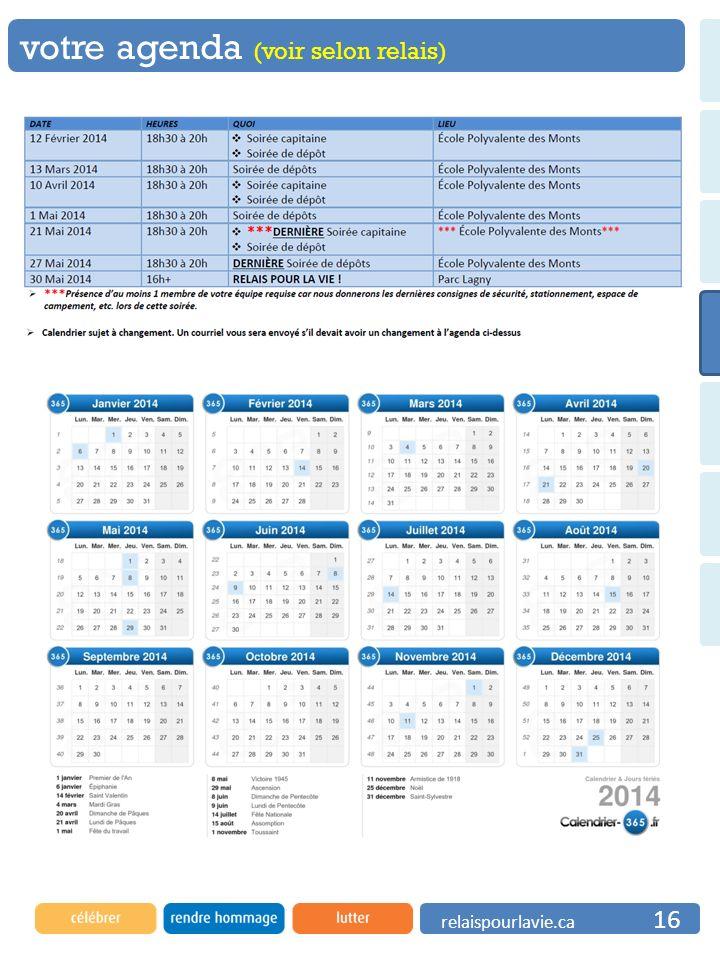 votre agenda (voir selon relais)