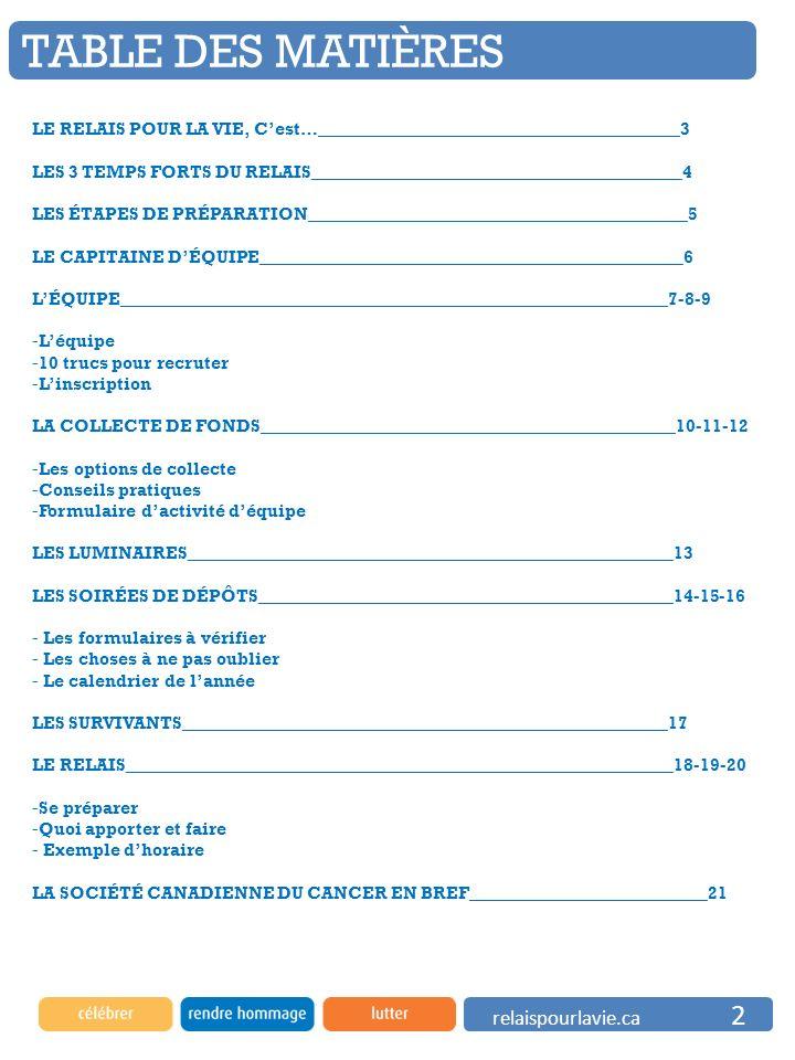 TABLE DES MATIÈRES relaispourlavie.ca 2