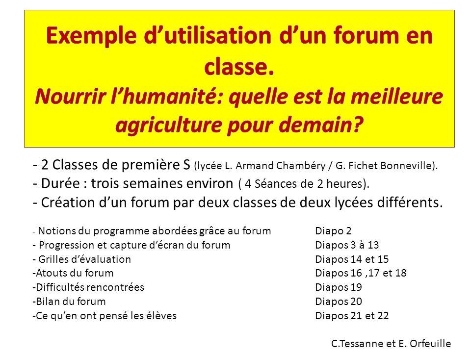 Exemple d'utilisation d'un forum en classe