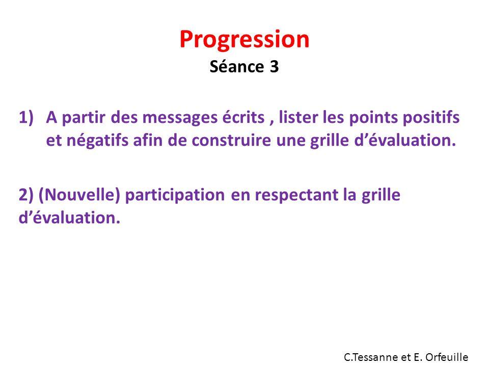 Progression Séance 3 A partir des messages écrits , lister les points positifs et négatifs afin de construire une grille d'évaluation.