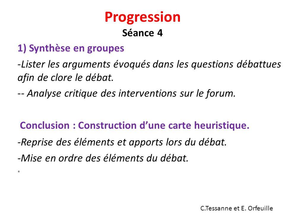 Progression Séance 4 1) Synthèse en groupes