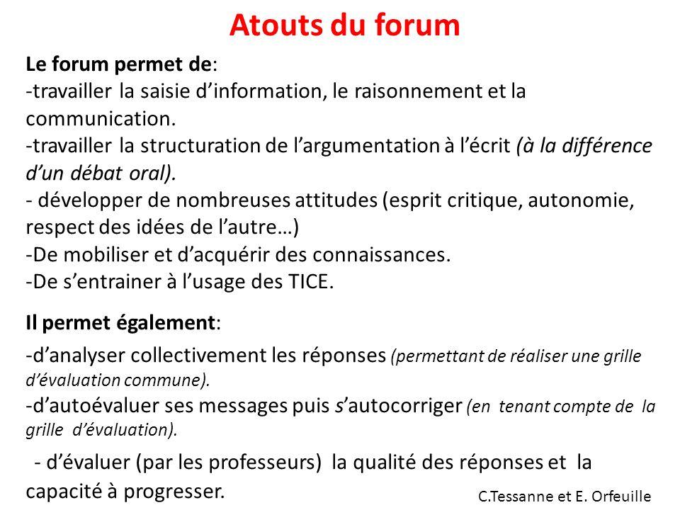 Atouts du forum Le forum permet de: travailler la saisie d'information, le raisonnement et la communication.