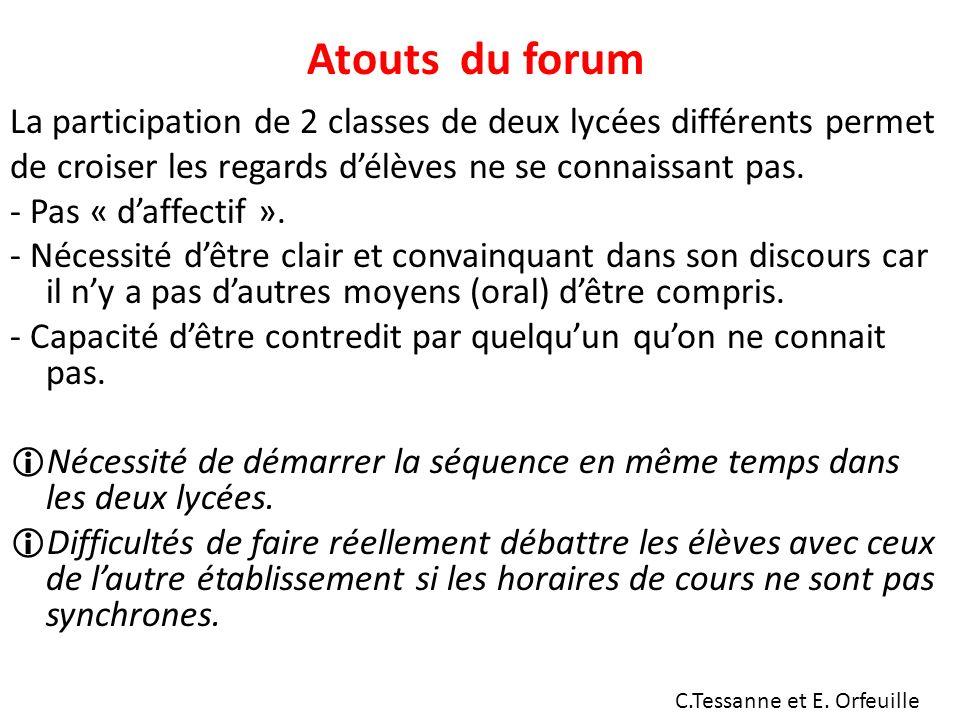 Atouts du forum La participation de 2 classes de deux lycées différents permet. de croiser les regards d'élèves ne se connaissant pas.