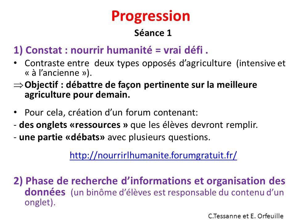 Progression 1) Constat : nourrir humanité = vrai défi .