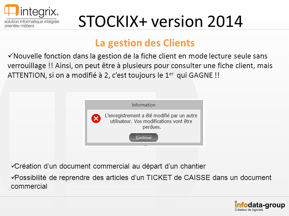 STOCKIX+ version 2014 La gestion des Clients