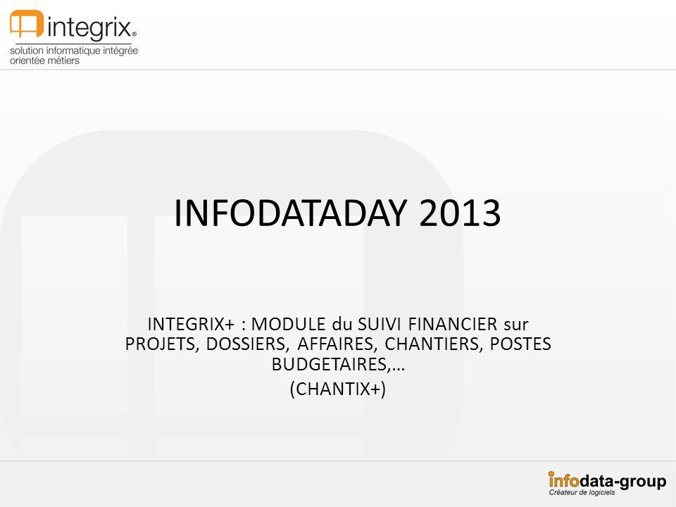 INFODATADAY 2013 INTEGRIX+ : MODULE du SUIVI FINANCIER sur PROJETS, DOSSIERS, AFFAIRES, CHANTIERS, POSTES BUDGETAIRES,…
