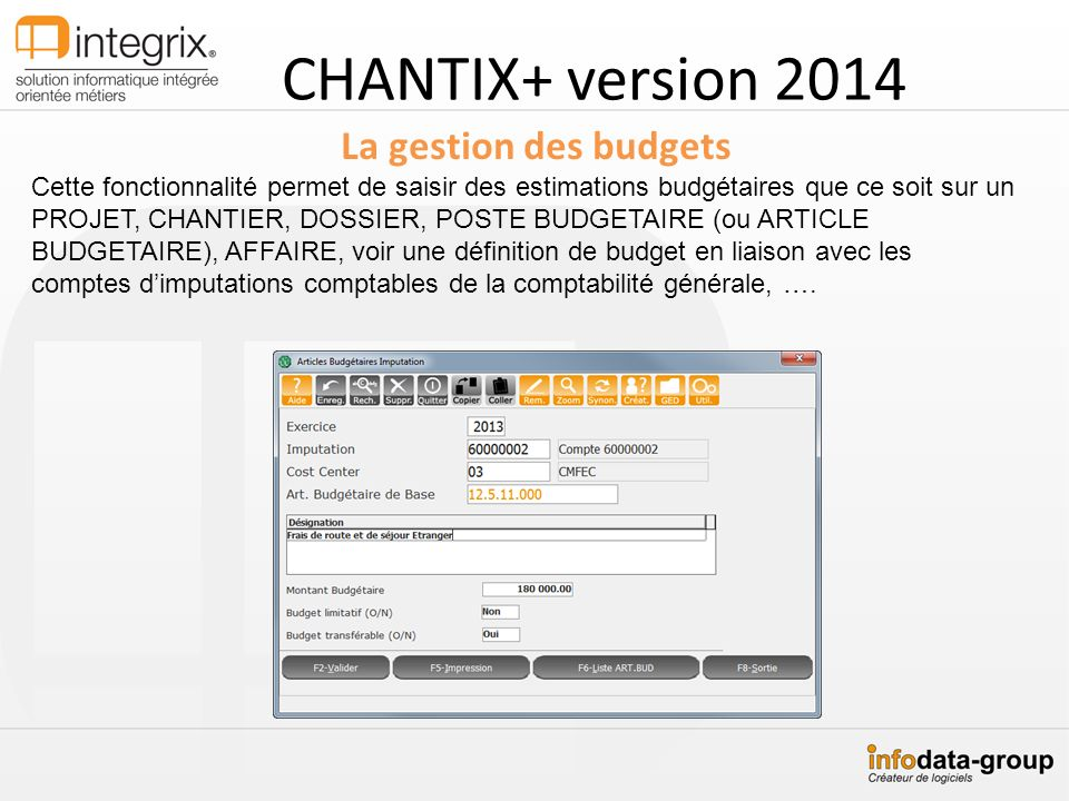 CHANTIX+ version 2014 La gestion des budgets