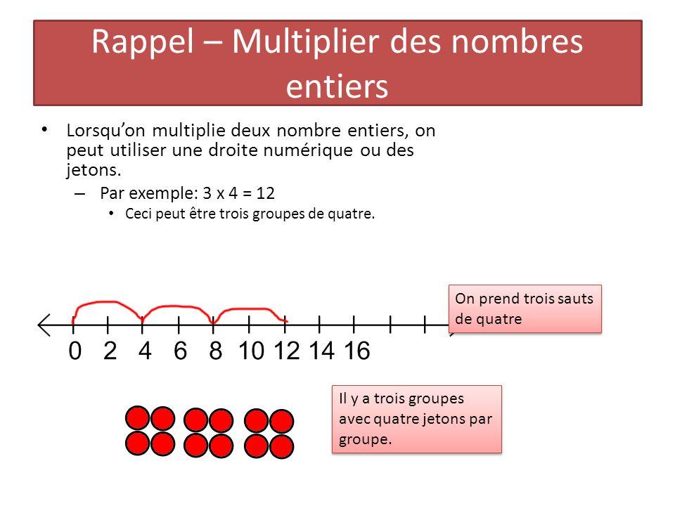 Rappel – Multiplier des nombres entiers