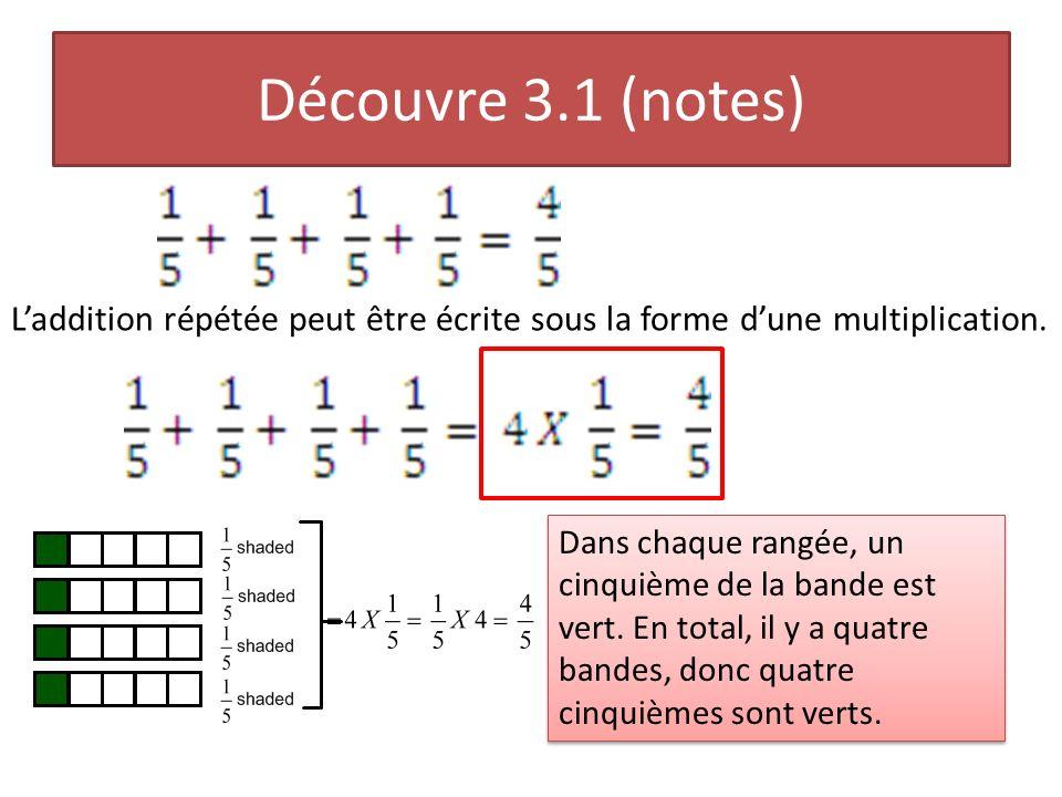 Découvre 3.1 (notes) L'addition répétée peut être écrite sous la forme d'une multiplication.