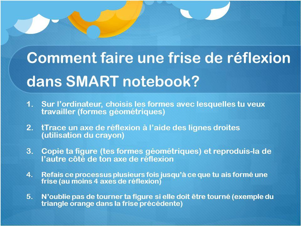 Comment faire une frise de réflexion dans SMART notebook