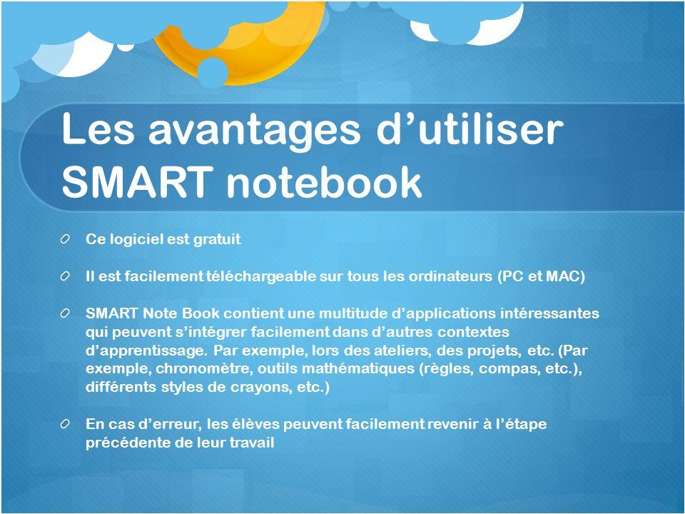 Les avantages d'utiliser SMART notebook