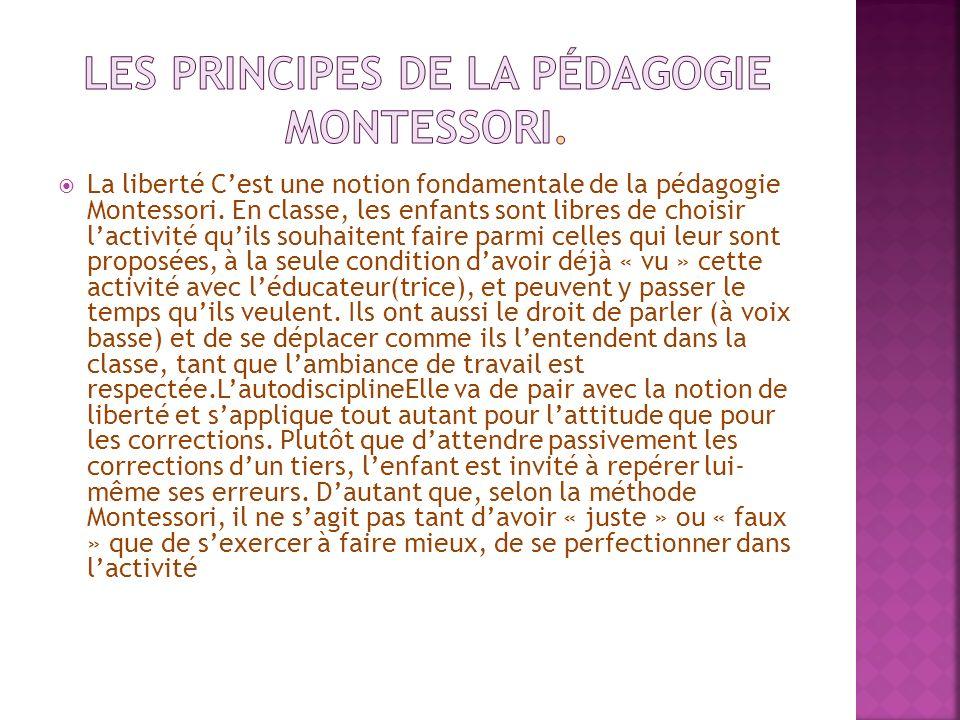Les principes de la pédagogie Montessori.