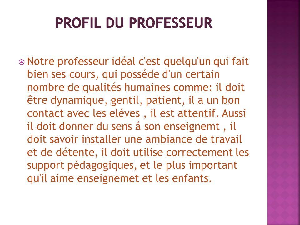 Profil du professeur