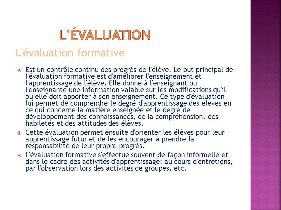 l évaluation L évaluation formative