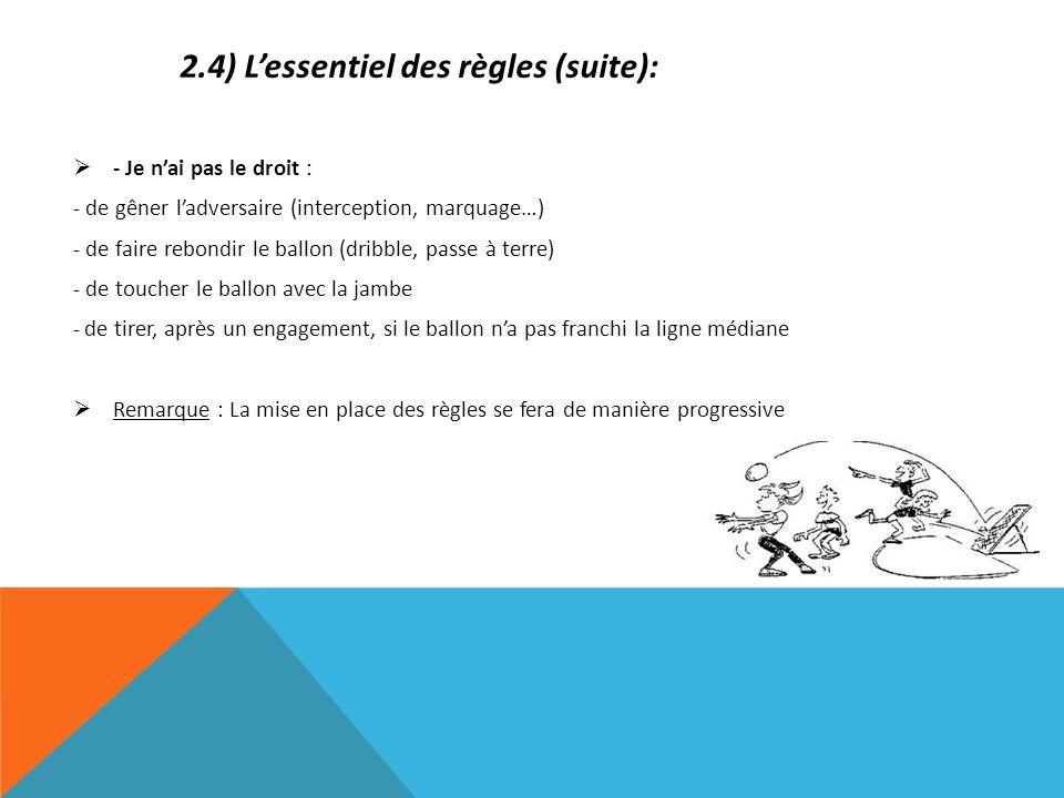 2.4) L'essentiel des règles (suite):