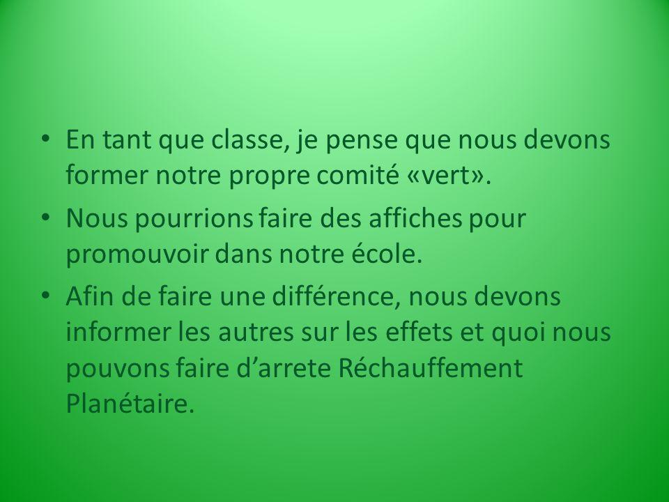 En tant que classe, je pense que nous devons former notre propre comité «vert».