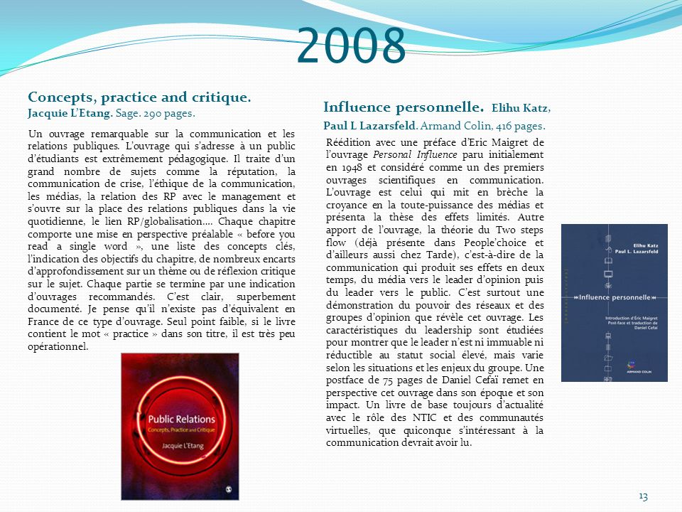 2008 Concepts, practice and critique. Jacquie L'Etang. Sage. 290 pages. Influence personnelle. Elihu Katz,