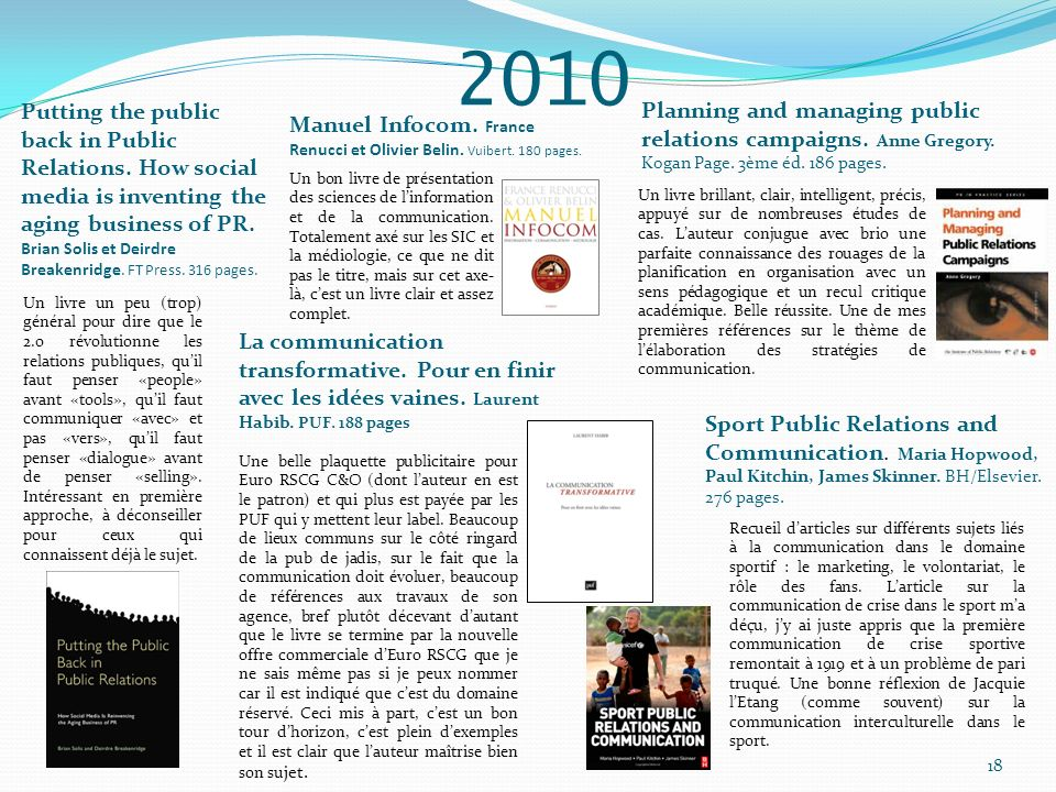 2010 Planning and managing public relations campaigns. Anne Gregory. Kogan Page. 3ème éd. 186 pages.