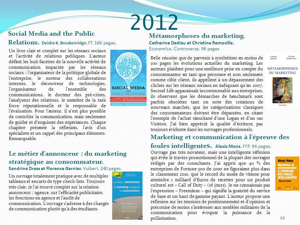 2012 Social Media and the Public Relations. Deidre K. Breakenridge. FT. 166 pages. Métamorphoses du marketing.