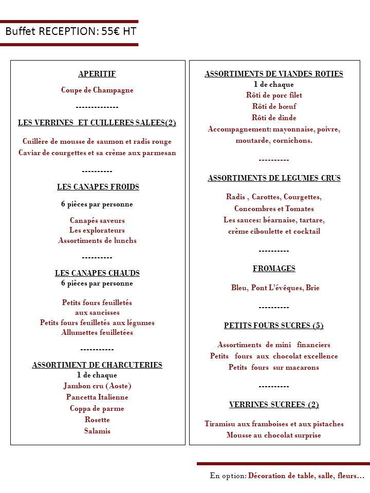 Buffet RECEPTION: 55€ HT APERITIF Coupe de Champagne --------------