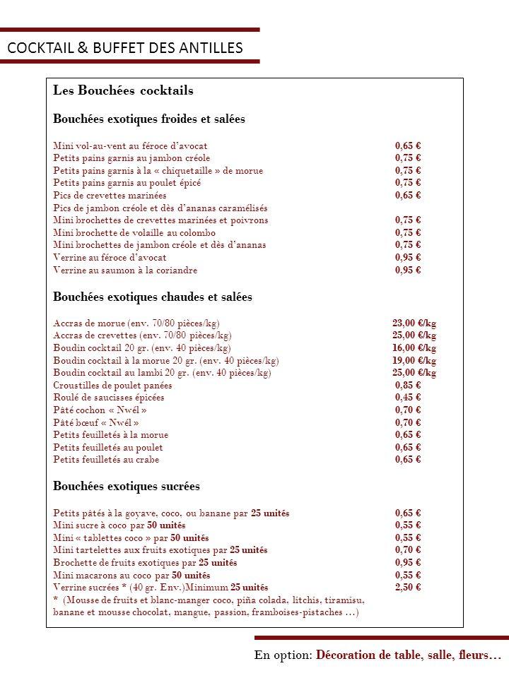COCKTAIL & BUFFET DES ANTILLES