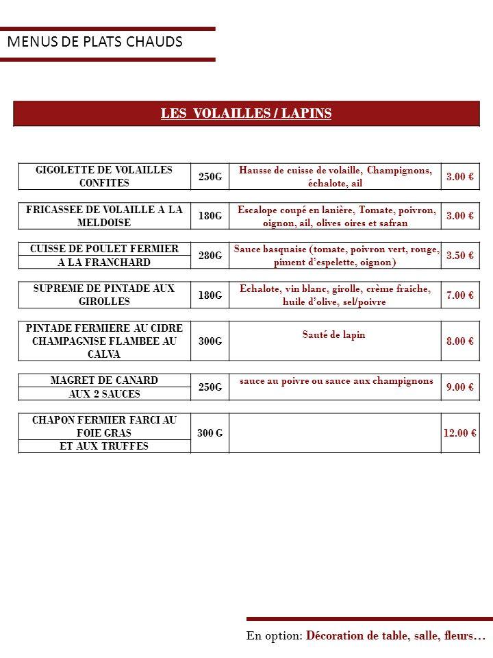 MENUS DE PLATS CHAUDS LES VOLAILLES / LAPINS