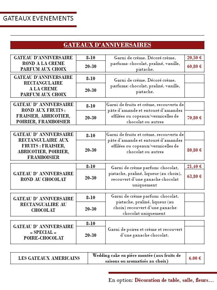 GATEAUX EVENEMENTS GATEAUX D'ANNIVERSAIRES