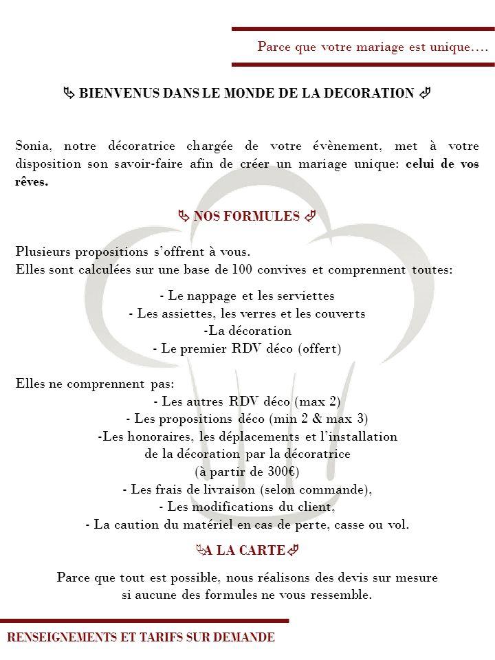  BIENVENUS DANS LE MONDE DE LA DECORATION 