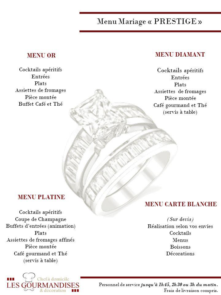 Menu Mariage « PRESTIGE »