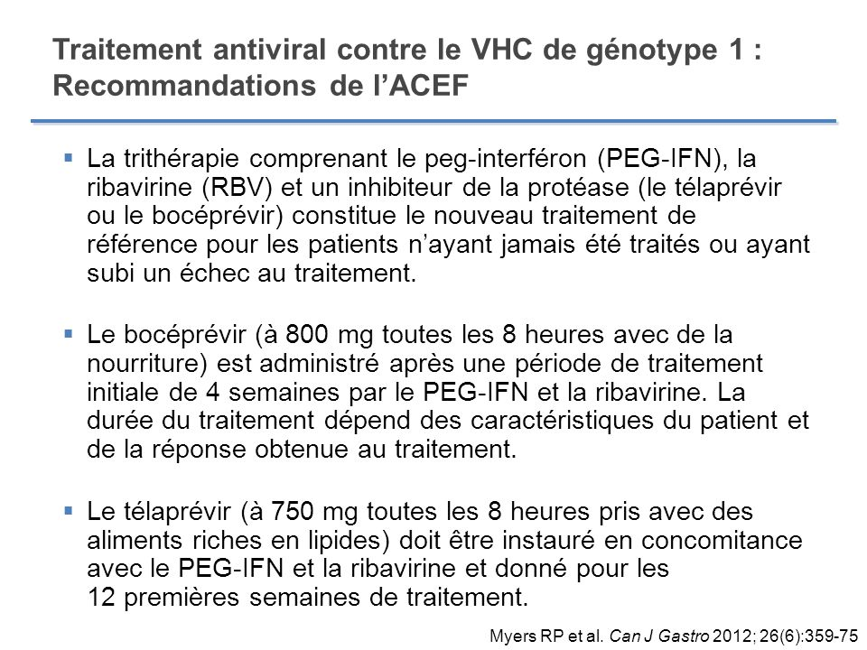 Traitement antiviral contre le VHC de génotype 1 : Recommandations de l'ACEF