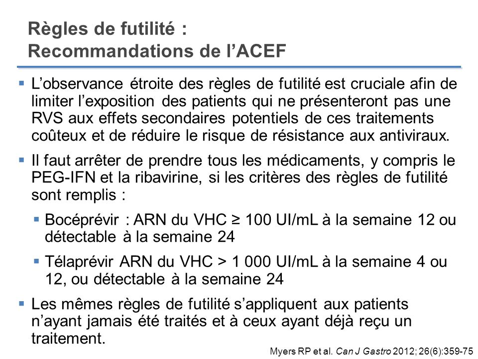 Règles de futilité : Recommandations de l'ACEF