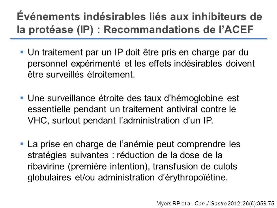 Événements indésirables liés aux inhibiteurs de la protéase (IP) : Recommandations de l'ACEF