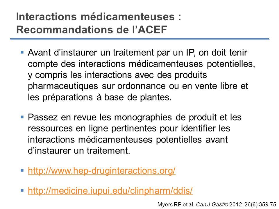 Interactions médicamenteuses : Recommandations de l'ACEF