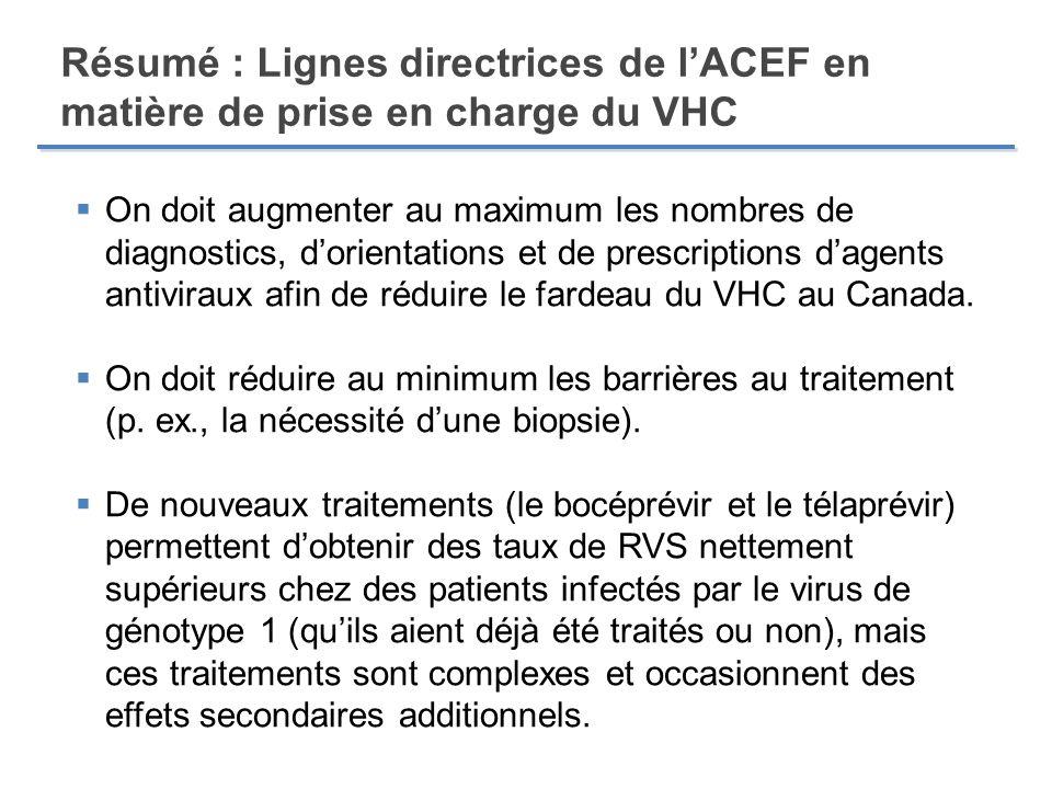 Résumé : Lignes directrices de l'ACEF en matière de prise en charge du VHC